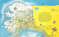 FLAG POEM & MAP ALASKA POSTCARD (c. 1950s)