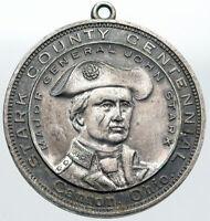 1909 USA Canton, OHIO MAJOR GENERAL JOHN STARKS County OLD Silver Medal i87589