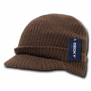 Mens Womens Visor Knit Beanie with Bill Ski Hunting Camouflage Winter Hat Olive