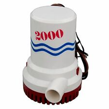 12V 2000GPH Boat Bilge Pump Marine Submersible Water Pump Non-Automatic 1-1/8""