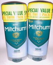 2 TWIN packs Mitchum Men Triple Odor Defense UNSCENTED GEL 48hr Deodorant