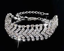Silver Crystal Bangle Bracelet Bride Rhinestone Bridal Wedding Jewelry Wave