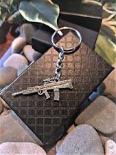 Handmade Silver Assault Rifle Keyring / Handbag Charm. GTA Far Cry. Gift Boxed.