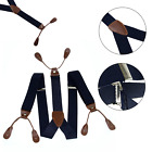 Unisex Suspender Braces Adjustable With Button Holes Navy Color Wedding Formal