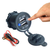 Dual USB Socket Car Charger With Touch ON OFF Switch Adapter 5V 2.1A for Marine