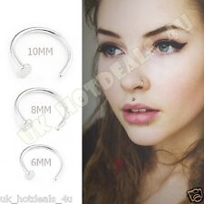 Small Silver Nose Hoop Ring Stud 6mm 8mm 10mm Cartilage Piercing 316L Steel