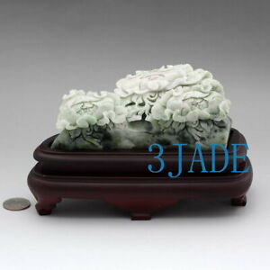 Natural Dushan Jade Stone Flower Sculpture / Statue / Carving