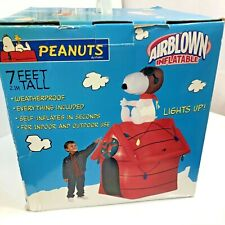 Peanuts Snoopy Airblown Gemmy Inflatable Outdoor Holiday 7' Flying Ace Doghouse