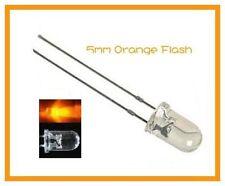 50 pcs Orange Flash 5mm Flash Blink LEDs Free 9v Resistors
