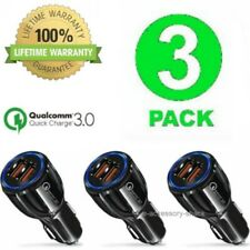 3 PACK 2 Port USB Fast Car Charger QC 3.0 Dual For Samsung Apple iPhone Phone