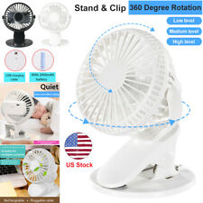 360° Swivel Portable USB Rechargeable Fan Clip On Table Desk Air Cooling 3 Speed