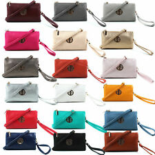 Women's Clutch Bag Multi Compartment Pocket CrossBody Bag With Wrist Long Strap