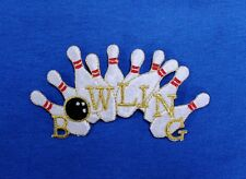 Curved Bowling Pins & Ball Large,  Colorful Iron On Embroidered Applique