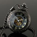 Mechanical Pocket Watch Skeleton Steampunk Black Magnifier Numberals Full Hunter