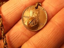 AWESOME, RARE VTG MASONIC POCKET WATCH FOB CHAIN, LINCOLN CENT, EMBOSSED COMPASS