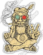 "Hippie Sitting Smoking Love Peace Music Car Bumper Vinyl Sticker Decal 4""X5"""