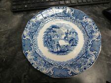 """Antique Watteau Flow Blue Transferware 10"""" Plate Nice!"""