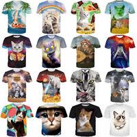 Womens/Mens Funny Cat Set Cute Animals 3D Print Casual T-Shirt Tee Short Sleeve