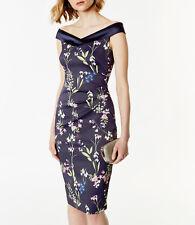 New KAREN MILLEN Floral BNWT £170 Off Shoulder Pencil Dress UK 10 12 14