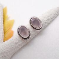 Rosenquarz rosa oval Design Ohrringe Ohrstecker Stecker 925 Sterling Silber neu