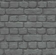 Brick Wall Effect Feature Wallpaper Kids Teens Childrens Black Silver Grey