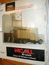 Vac/All VCR-135/200 OPERATION MAINTENANCE PARTS SERVICE MANUAL VACUUM LEACH