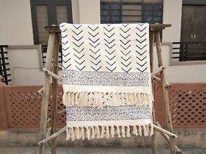 Hand Block Print Mud Cloth Throws Indian Beach Shawl Bohemian Couch Sham Black