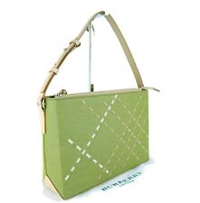 Burberry London Green Canvas & Brown Leather Tote Hand Bag Shoulder Bag Purse