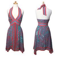 BCBGMaxAzria Maxi Dress Womens Silk Halter Neck Shark Bite Hem Size 2 Pink Blue