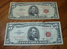 SET OF 2 1963 $5 BILLS, RED SEAL, FIVE, PAIR, A16812825A and A55202722A