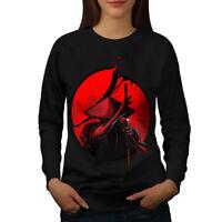 Wellcoda Japanese Warrior Womens Sweatshirt, Katana Sun Casual Pullover Jumper