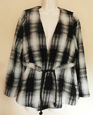 ASOS (UK10 / EU38) BLACK AND WHITE TIE-FRONT JACKET WITH 55% WOOL - NEW