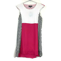 BNWT Caroline Morgan Womens White/Pink/Black Cap Sleeve Shift Dress Size 8