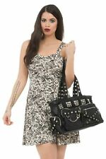 Punk Studded Bag Faux Leather Black Overnight School College