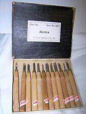 Vintage Woodcarving Set Gauges Chisels Tools In Original Box made in Japan Durex