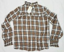 Loveriche Plaid Flannel Victorian High Neck Blouse Womens Size Small