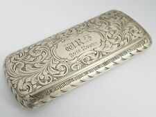 STUNNING CLEAN ENGLISH ANTIQUE VICTORIAN 1852 SOLID STERLING SILVER SNUFF BOX