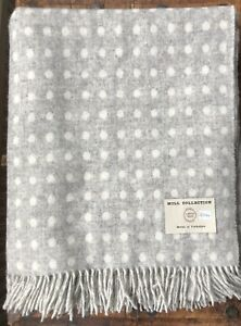Bronte Throw 100% Merino Wool woven in the UK - Grey and White Reversible Spot