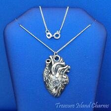 """Large Anatomical Human Heart Pendant .925 Sterling Silver Necklace 16"""" or 18"""""""