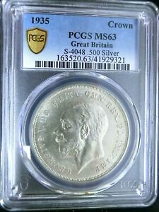 PCGS MS63 Gold Shield-Great Britain 1935 George V Silver One Crown BU Scarce