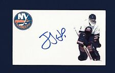 Jeff Hackett signed New York Islanders hockey index card