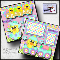 EASTER  ~  2 premade scrapbook pages paper piecing layout printed 12X12 ~ CHERRY