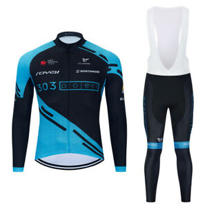 New Man Blue Cycling Clothes Jersey Bib Pants 3D Pad Long Sleeve  Ride Women Set
