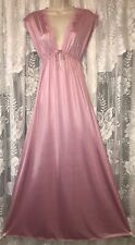 Vtg Rich Pink M Silky Soft Opaque Nylon Keyhole Bodice Nightgown Negligee w Lace