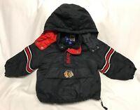Vintage Starter Chicago BlackHawks NHL Half Zip Hooded Coat Jacket Youth Size S