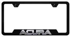 For 3D ACURA Black Stainless Steel Black Cut-Out License Plate Frame 1pcs
