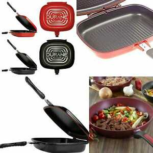 Pan Double Sided Grill Die Cast Frying Magic Foldable Non Stick Flipping 32cm