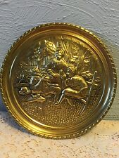 Unique Raised Brass Relief Plate England Colonist Plate Wall Plaque 6-1/2""