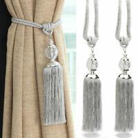 2X Curtain Holdbacks Rope Tie Backs Tassel Tiebacks Beaded Ball Decor Silver
