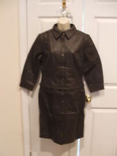 NWT NEWPORT NEWS CONVERTABLE  2 in 1 Leather Long Jacket Coat Brown SIZE 6